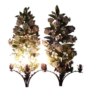 19th Century Huge Italian Tole and Bisque Porcelain Flowers Sconces For Sale