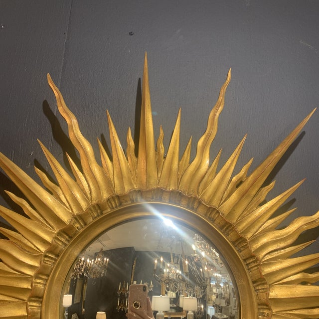 Gold Leaf Sunburst With Convex Mirror For Sale In Houston - Image 6 of 13