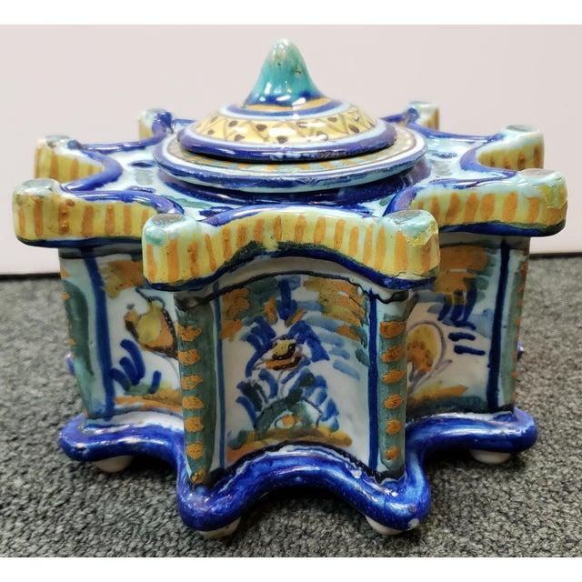 Spanish Circa 1900 Spanish Talavera Faience Pottery Inkwell For Sale - Image 3 of 11