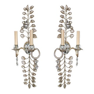 1930s French Crystal and Silver Leaf Sconces - a Pair For Sale