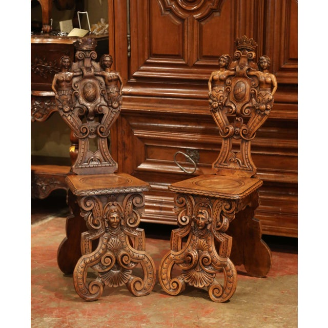 Pair of 19th Century Italian Renaissance Carved Walnut Sgabello Hall Chairs For Sale - Image 13 of 13