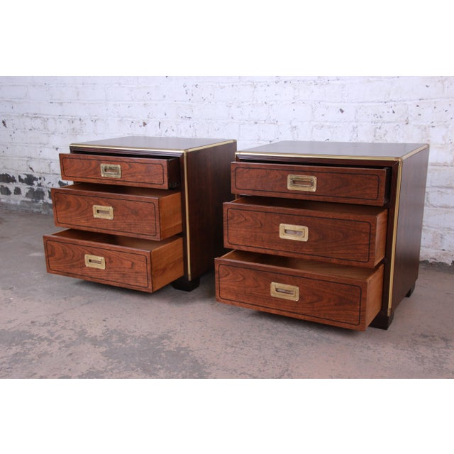 1970s Baker Furniture Campaign Walnut and Brass Nightstands - a Pair For Sale - Image 5 of 13