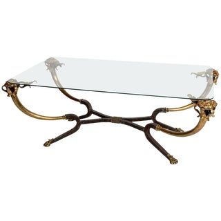 Brass and Glass Coffee Table For Sale