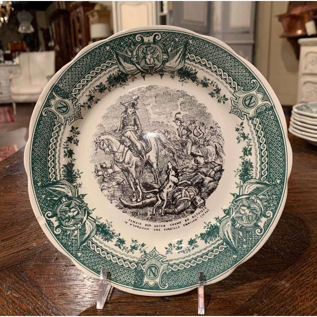 Sarraguemines 19th Century French Painted Napoleonic Sarreguemines Ceramic Plates-Set of 9 For Sale - Image 4 of 13