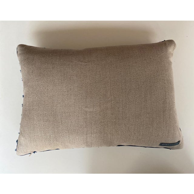Traditional Navy and White Woven Pillows - a Pair For Sale - Image 3 of 7