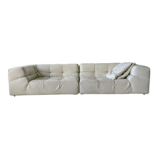 Authentic B&b Off-White Italia Tufty Time Leather Sectional Sofa For Sale