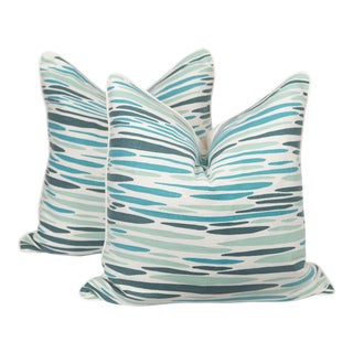 Sea Green Linen Island Pillows, a Pair For Sale