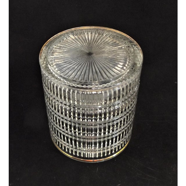 Vintage Art Deco Clear Pattern Glass Ice Bucket For Sale - Image 4 of 5