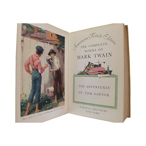 Leather Bound Works of Mark Twain - Set of 20 For Sale - Image 4 of 6