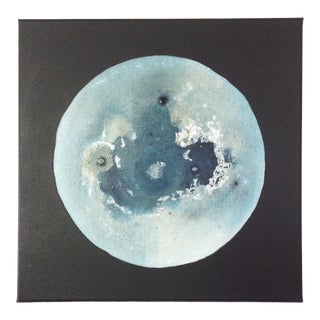 Light Blue Abstract Moon Painting For Sale