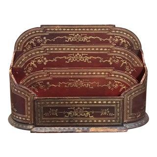 Vintage Italian Leather Desk Caddy