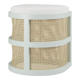 Isabella Demi Stool - Swept Away Blue, Optic White Linen For Sale