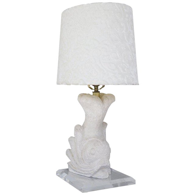 Carved Stone Dolphin Table Lamp For Sale