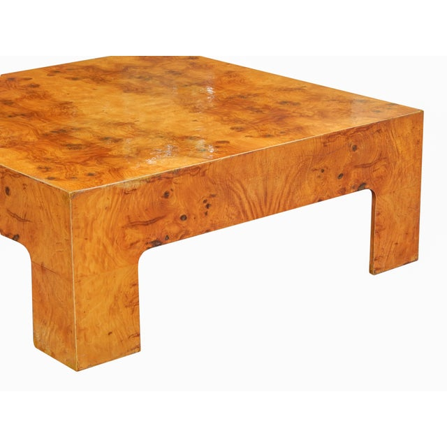 Brown Large Square Bookmarked Burl Veneer Coffee Table For Sale - Image 8 of 11