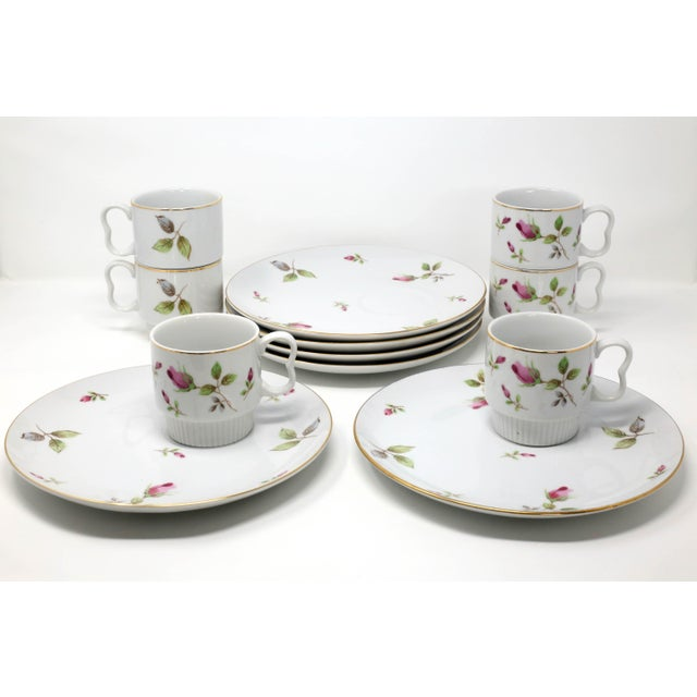 1970s Chinoiserie Royal Geoffrey Rosebud Snack Plates and Cups - 12 Piece Set For Sale - Image 13 of 13
