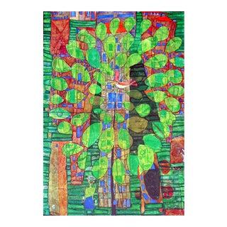 "Friedrich Hundertwasser ""Singing Bird on a Tree"", Framed and Matted Print"