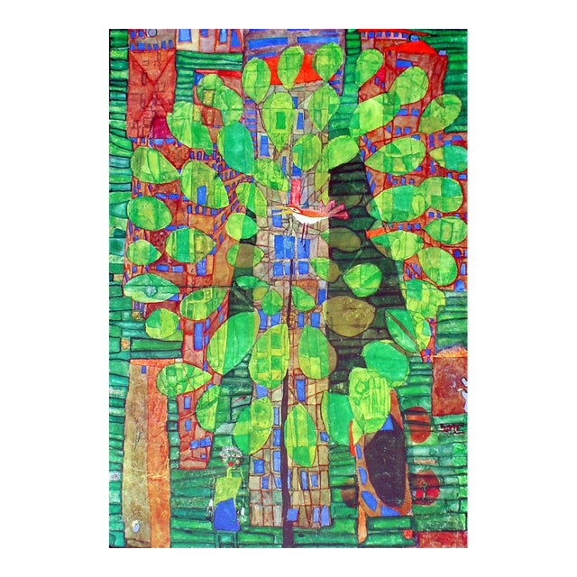 "Friedrich Hundertwasser ""Singing Bird on a Tree"", Framed and Matted Print For Sale"