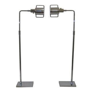 "Pair of Koch & Lowy Chrome ""Pharmacy"" Floor Lamps C.1970 For Sale"