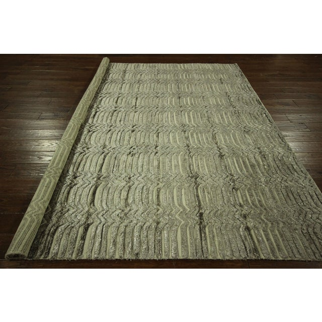 "Wool & Silk Pile Gray Moroccan Rug - 7'4"" x 8'2"" - Image 10 of 10"