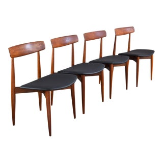 Danish Teak & Leather Hw Klein Dining Chairs, Set/4 For Sale