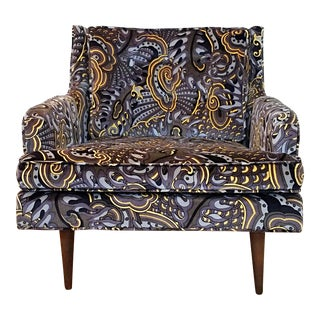 Mid Century Upholstered Club Chair in Pucci-Style Print For Sale