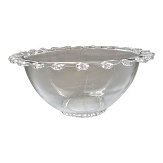 Heisey Vintage Lariat Clear Glass Punch Bowl For Sale