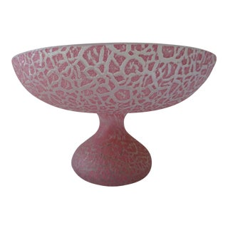 Antique Reproduction Pink Czech Glass Compote For Sale