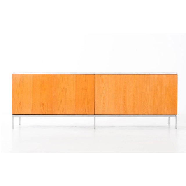 Knoll Florence Knoll White Oak Credenza with Carrara Marble Top For Sale - Image 4 of 11