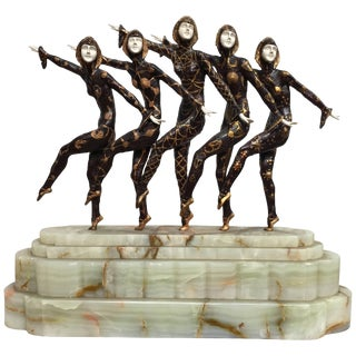 Large Art Deco Sculpture of Five Chiparus Style Dancers With a Marble Base For Sale
