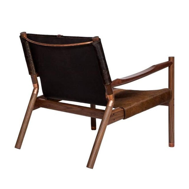 Modern Customizable Erickson Aesthetics Slung Brindle Walnut Lounge Chair For Sale - Image 3 of 7