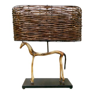 Primitive Hand-Crafted Horse Lamp For Sale