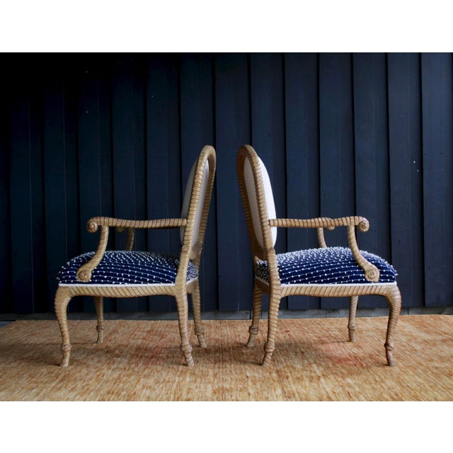 1980s Newly Upholstered Rope & Tassel Armchairs, a Pair For Sale - Image 5 of 12