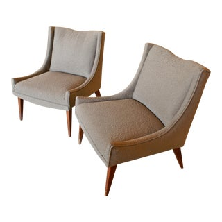 Gray Slipper Chairs - A Pair For Sale