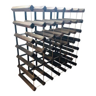 Mid-Century Modern Teak and Aluminum Wine Rack For Sale