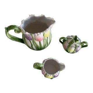 1990s Fitz & Floyd Omnibus Spring Tulip Ceramic Set - Set of 3 For Sale