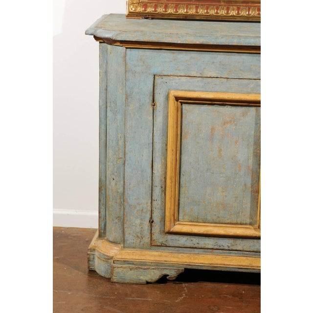 Italian Italian Florentine Light Grey Blue Painted Buffet with Two Doors from the 1820s For Sale - Image 3 of 11