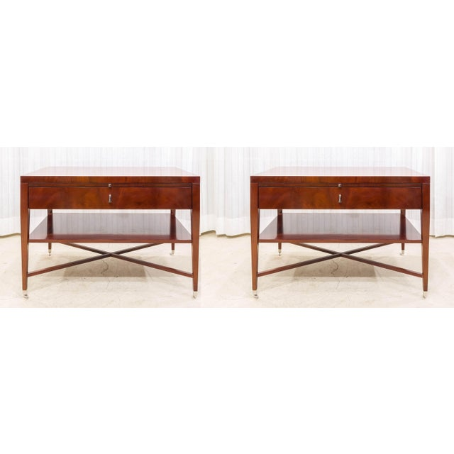 Bolier & Co. Swirl Mahogany Side Tables - Pair - Image 2 of 5