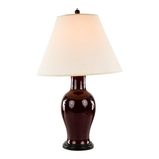 Oriental Ruby Red Vase Table Lamp For Sale