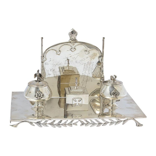 Sterling silver inkstand For Sale - Image 9 of 9