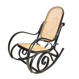 1970s Vintage Black Bentwood Rocker in Thonet Style For Sale