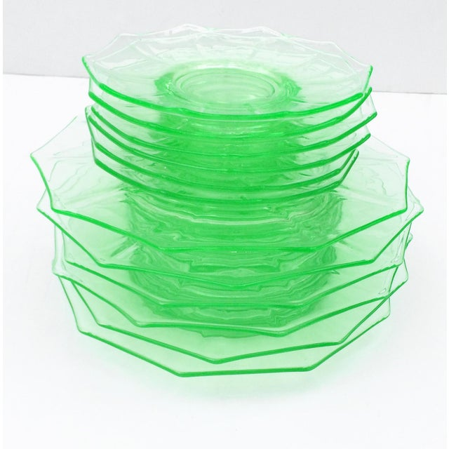 Antique Green Glass Luncheon & Dessert Plates - Set of 12 For Sale - Image 13 of 13