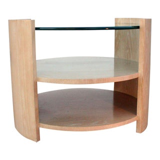 Large Cerused Oak Occasional Table by Jay Spectre For Sale
