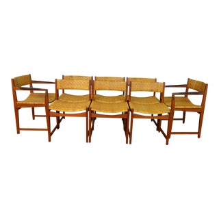 Rare Set of Eight Hvidt & Molgaard-Nielsen Danish Teak Rosewood and Cane Dining Chairs For Sale