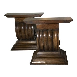 1990s Hollywood Regency Hand Carved Wood Consoles - a Pair For Sale