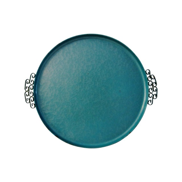 Midcentury Kyes Moiré Caribbean Green Tray - Image 1 of 5
