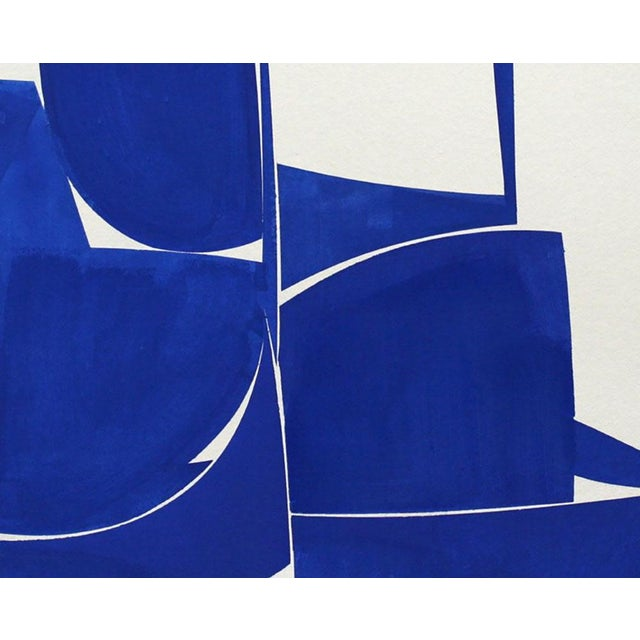 "Abstract Joanne Freeman ""Covers 24 Blue I Summer"" Painting For Sale - Image 3 of 4"