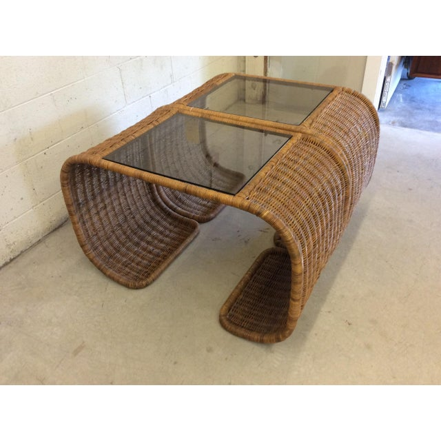 Vintage Wicker Glass Top Waterfall Side Tables - a Pair For Sale - Image 11 of 11