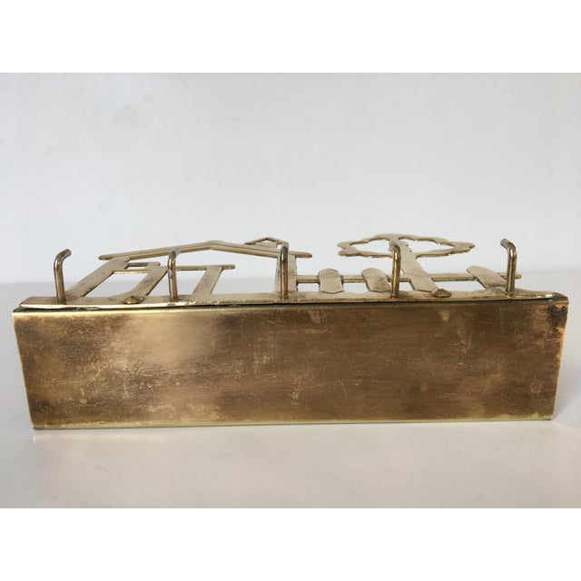 Mid-Century Brass House & Fence Letter Holder and Key Rack For Sale - Image 4 of 9