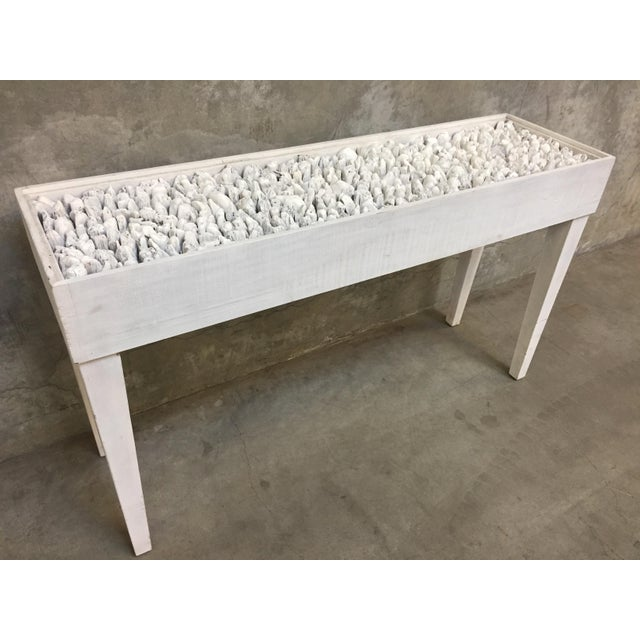 Distressed White Driftwood Console Table For Sale - Image 4 of 4