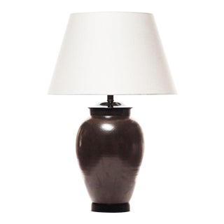 Lawrence & Scott Porcelain Table Lamp With Textured Matte Latte Brown Glaze For Sale